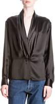 Loewe Silk Shawl-Collar Blouse, Black
