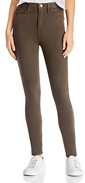 Frame Ali High-Rise Sateen Skinny Jeans in Deep Moss