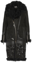 Roberto Cavalli Embroidered cutout and leather-trimmed shearling coat