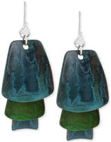 Robert Lee Morris Soho Silver-Tone Layered Blue and Green Patina Earrings