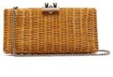 Rodo Leather-trimmed Wicker Clutch Bag - Womens - Beige
