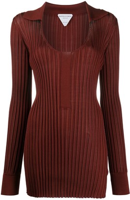 Bottega Veneta Scoop Neck Ribbed Long Knitted Top