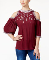 American Rag Embroidered Cold-Shoulder Blouse, Only at Macy's