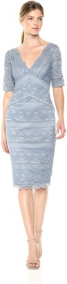 Adrianna Papell Women's Elbow Sleeve Stripe LACE Cocktail Dress