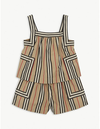 Burberry Florence Icon-check cotton-poplin playsuit 3-14 years