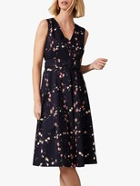 Phase Eight Nala Floral Fit And Flare Dress, Navy/Pink