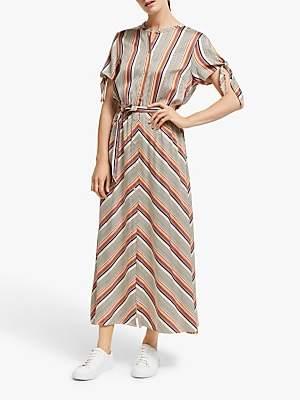 Second Female Slow Stripe Short Sleeve Maxi Dress, Brown Patina