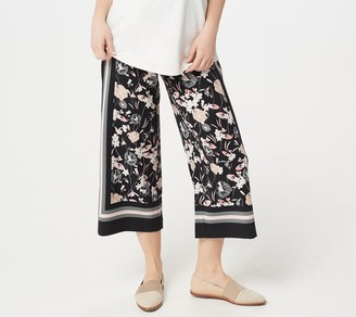 Isaac Mizrahi Live! Petite Engineered Scarf Print Culotte Pants