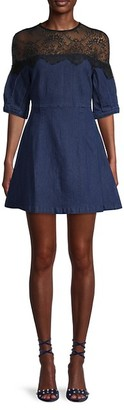 Avantlook Lace-Trim Balloon-Sleeve Denim Dress