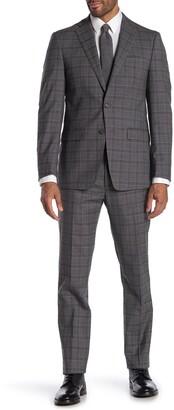Calvin Klein Grey Black Plaid Two Button Notch Lapel Slim Fit Suit