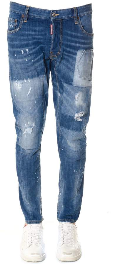 DSQUARED2 Blu Worn Out Effect Jeans In Denim
