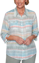 Alfred Dunner Women's Button Down Shirts MULTI - Light Blue Stripe Watercolor Biadere Button-Up - Women, Petite & Plus