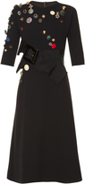Dolce & Gabbana Button-embellished wool-blend dress