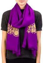 Versace Women's Ornamental Pattern Silk Scarf Purple Large