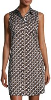 MICHAEL Michael Kors Graphic-Print Sleeveless Shirtdress, Neutral Pattern