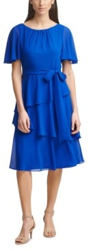Jessica Howard Tiered-Hem Midi Dress