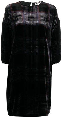 YMC Check Print Velvet Dress