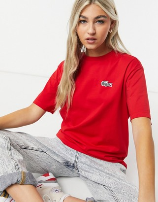 Lacoste x National Geographic printed croc logo tee in red