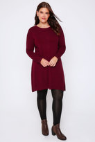 Yours Clothing Burgundy Wool Blend Tunic Dress With Front Seam Detail