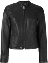 Diesel zipped jacket - women - Cotton/Calf Leather/Polyester - XS