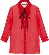 Gucci Chiffon crepe pleated shirt