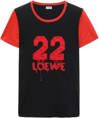 Loewe Appliqued Two-tone Cotton-jersey T-shirt