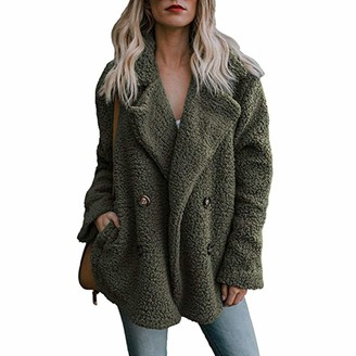 MINGGER Jacket Women Thick Plush Long-Sleeved Suit Cardigan Lapel Button Coat Army Green