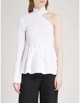 A.L.C. Cossette one-shoulder stretch-silk shirt
