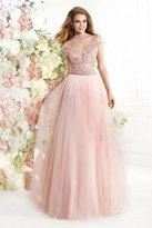 Tarik Ediz Embellished High Neck Long Dress 92414