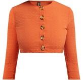 Lisa Marie Fernandez Cropped-sleeve Seersucker Cardigan - Womens - Orange