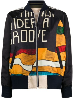 Sacai reversible zip-up bomber jacket