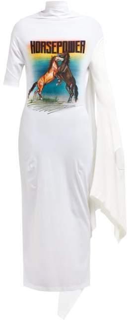 Christopher Kane Horsepower Asymmetric Sleeve Dress - Womens - White Multi