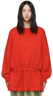 Undercover Red Mohair Drawstring Sweater