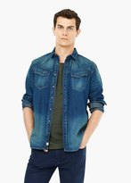 Mango Outlet Slim-Fit Vintage Denim Shirt