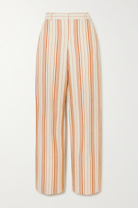 Loro Piana Striped Cotton-blend Straight-leg Pants - Coral