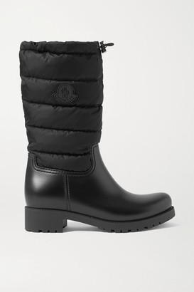 Moncler Ginette Quilted Nylon And Rubber Rain Boots - Black