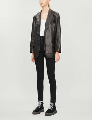 J Brand x Elsa Hosk Birthday single-breasted leather blazer