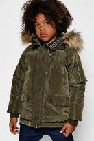 boohoo Boys Faux Fur Hooded Parka