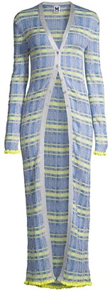 M Missoni Lurex Plaid Duster Cardigan