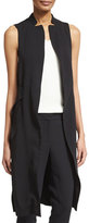 Halston Sleeveless Long Waistcoat w/ Side Slits, Black