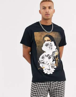Reclaimed Vintage oversized mona lisa printed t-shirt-White
