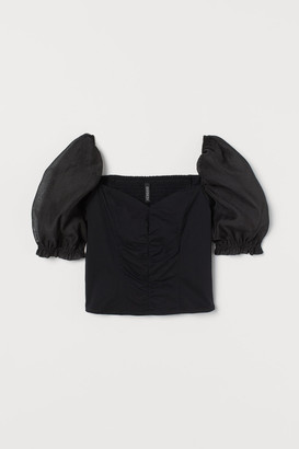 H&M Puff-sleeved Top - Black