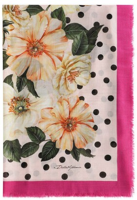 Dolce & Gabbana Floral-Print Polka-Dot Scarf