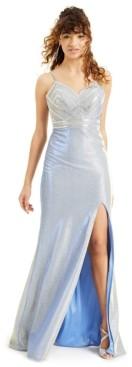 Blondie Nites Juniors' Embellished Metallic Gown