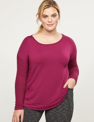 Lane Bryant LIVI High-Low French Terry Top - Ribbed Sleeves