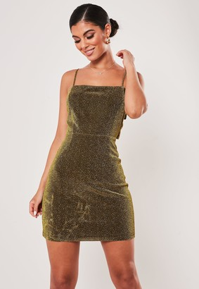 Missguided Petite Gold Sparkle Tie Back Mini Dress