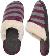Isotoner Striped Knit Faux Fur Lined Clogs