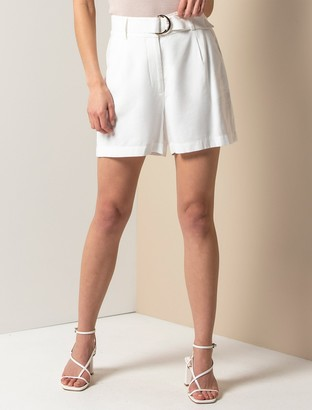 Forever New Bonnie Belted Shorts - Porcelain - 4