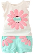 Monvecle Baby to Toddler Cotton Cute Cat Tank Vest Top + Short Pant Set Pink