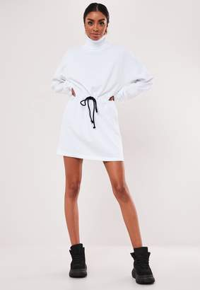 Missguided White Drawstring Waist Sweater Dress